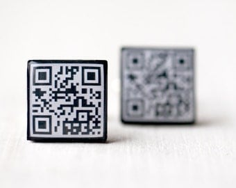 Personalized QR code cufflinks - Geek cufflinks - Personalized cufflinks - Custom cufflinks (C019)