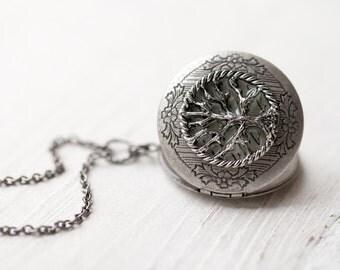 Steampunk locket necklace - Tree jewelry - Steampunk wedding jewelry (L006)