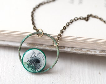 Bird Nest necklace - Rustic necklace - Green necklace - Mint necklace - Hammered copper ring necklace - Green teal patina necklace (N032)