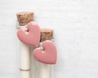 Secret Message bottle with Pink hearts - Love letter - Beach wedding card in bottle - Bridesmaid proposal - Secret message card Set of 2