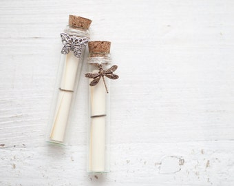 Secret Message bottle with Butterfly and Dragonfly - Wedding card in bottle - Bridesmaid proposal - Secret message card - Set of 2