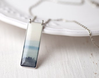 Blue Mountains necklace - Blue necklace - Art photo jewelry - Picture necklace - Tuscany - Blue ombre necklace (N074)