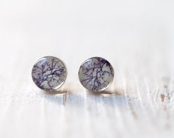 Gray stud earrings - Gray earring studs - Tiny stud earrings - Gray earrings - Tree earrings (E092)