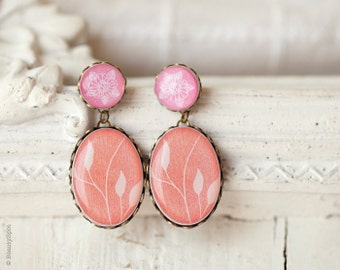 Pastel earrings - Pink earrings - Coral earrings - Pastel jewelry - Peach earrings - Floral earrings - Flower earrings (E106)