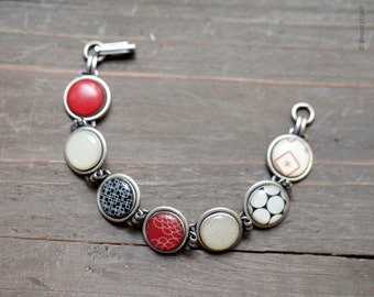 Red and black bracelet - Silver link bracelet - Vintage bracelet - Retro Bracelet, 60s jewelry, Holiday jewelry, Retro style jewelry (BT009)