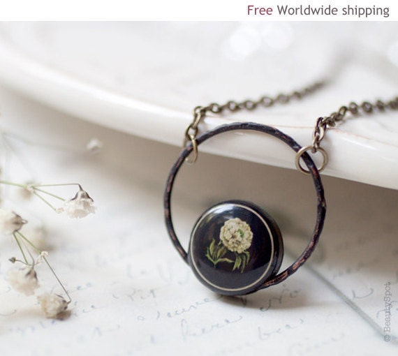 Peony rustic necklace - Jewelry for her (N018)