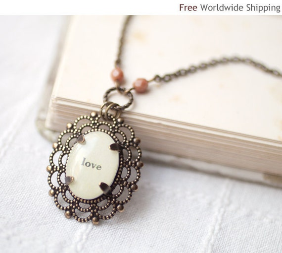 Word Love necklace - Personalized necklace  (N016)
