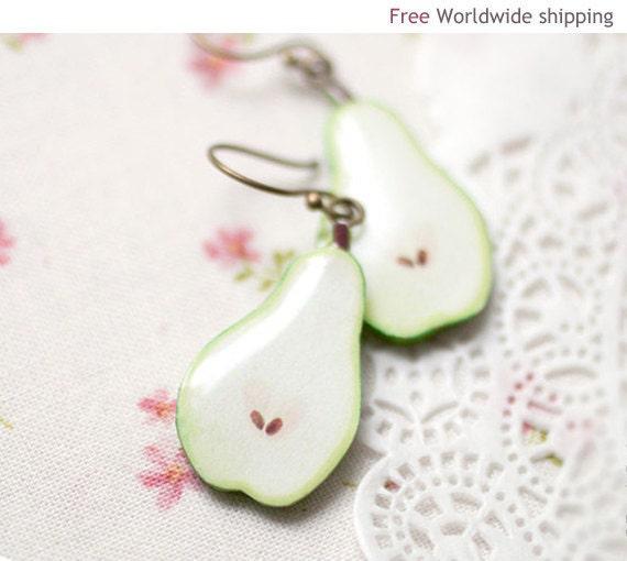 Cute jewelry - Garden - Green Pear earrings  (E028)