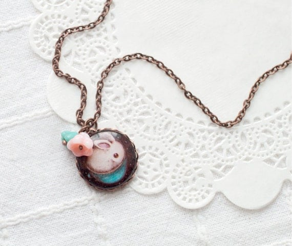 Cute bunny necklace - Blue Necklace - White rabbit necklace - Cute animal jewelry - Animal lover gift - White bunny jewelry (N070)
