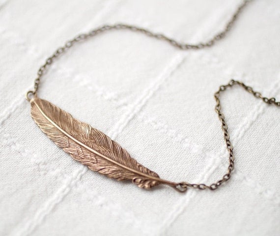 Antique brass Feather necklace - Bronze Feather pendant - Layered necklace - Feather jewelry - Boho necklace - tribal necklace (N078)