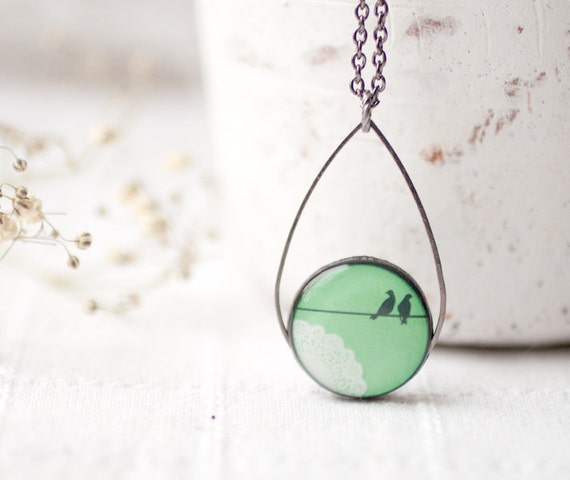 Mint Birds on Wire necklace - Pastel jewelry - Bridesmaids jewelry (N034)