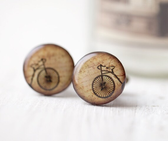 Retro Bicycle Cufflinks - Bike lover gift - Men cufflinks (C005)