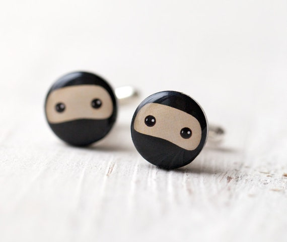 Geek Cufflinks - Ninja Cufflinks - Black cufflinks - Mens cuff links (C017)