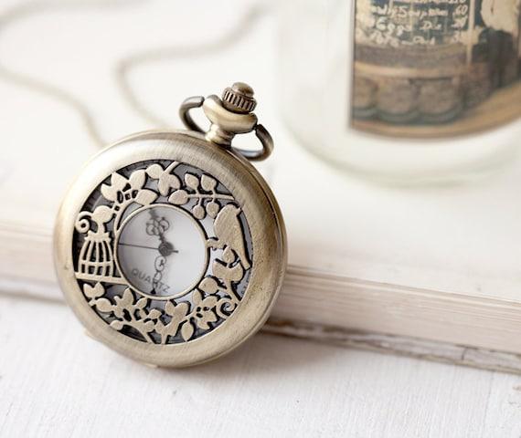 Bird Cage pocket watch necklace (PW023)