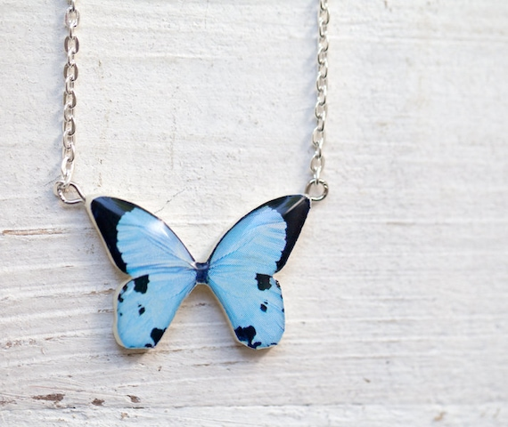 Blue Butterfly necklace - Pastel jewelry - Bridesmaids jewelry (N082)