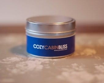 COZY CABIN SCENTED Small Tin Soy Candle