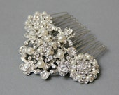 Vintage Style Bridal Hair Comb  Rhinestone Haircomb, Ivory Pearl Hair Comb Bridal Wedding Hair Accessories