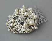 Wedding pearl comb ,bridal hair comb,bridal hair accessories, wedding bridal hair comb crystal and pearl ,wedding hair comb pearl