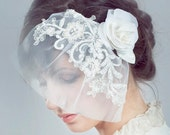 Birdcage veil. Blooming Bridal Tulle Blushing Birdcage Veil  Vintage Wedding - Style 219 - Made to Order