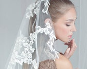 Shoulder Laced  Scalloped Tulle Veil - Style 215 - Made to Order
