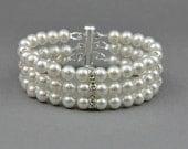 Classic Bracelet , Swarovski Cuff Ivory Bracelet, Crystal Accented Pearls Bracelet, Classic Wedding Jewelry