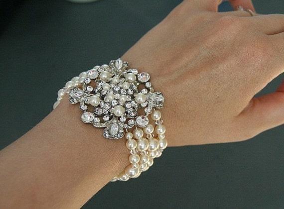 Stephanie. Four strands Vintage style rhinestones and Swarovski Pearls bridal bracelet (Cream/ Silver)