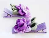 Pick 2 - Cabbage roses, no slip clips - Matching Pairs or Singles