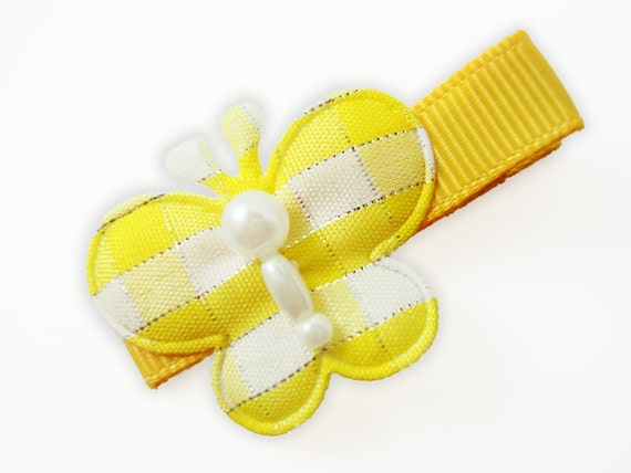 DOLLAR CLIP... Yellow gingham with silver sparkles butterfly / no slip clip (dacgwssb-pink)