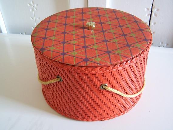 Vintage Orange Sewing Basket