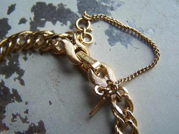 Vintage Chain Link Charm Bracelet - Monet