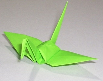 100 Small Origami Cranes Origami Paper Cranes - Made of 7.5cm 3 inches Japanese Paper - YellowGreen