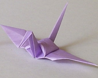 100 Small Origami Cranes Origami Paper Cranes - Made of 7.5cm 3 inches Japanese Paper - Light Purple