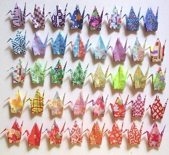 40 Origami Cranes - 7.5cm 3 inches Japanese Print Chiyogami Paper - Small