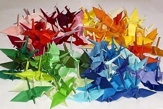 96 Origami Cranes Origami Paper Crane - Made of 7.5cm 3 inches Japanese Paper - Small - 48 Colors Pink Red Orange Yellow Green Blue