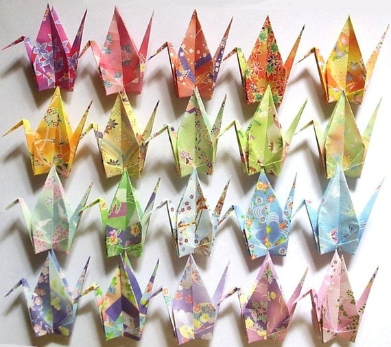 20 Large Origami Cranes Origami Paper Cranes Paper Crane Origami Crane - Made of 15cm 6 inches Japanese Washi Chiyogami Paper B