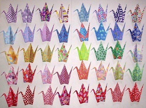 40 Large Origami Cranes Origami Paper Cranes -  Made of 15cm 6 inches Japanese Print Chiyogami Origami Paper - 40 Patterns