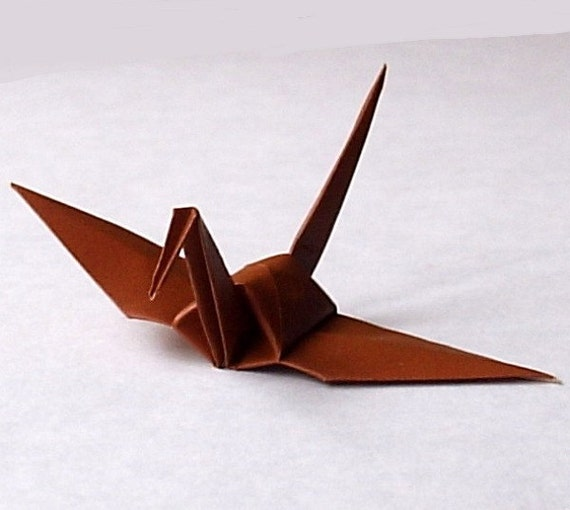 100 Origami Cranes Origami Paper Cranes Paper Crane Origami Crane - 7.5cm 3 inches Japanese Paper - Brown - Small