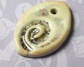 Green Diamond Spiral Bead - High Fired Handmade Porcelain