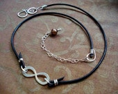 Infinity to Eternity Sterling Silver and Leather Artisan Clasp Necklace