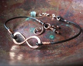 Copper Infinity to Eternity Unisex Leather  Bracelet With Recycled Copper NEW Bead Choices