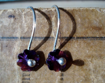 Take Time Smell the Flowers  - Sterling Silver and Amethyst  Swarovski Flower Crystal Earrings