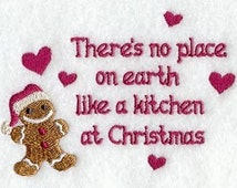 Embroidered GINGERBREAD MAN Flour Sack/Hand Towel / Apron