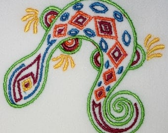 Lizard Mola Embroidered Flour Sack Towel / Hand Towel / Bath Towel  / Apron