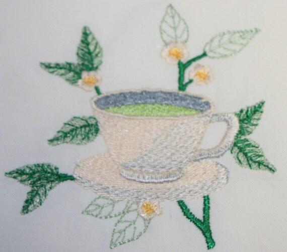 EMBROIDERED GREEN TEA Cup Flour Sack Towel / Hand Towel / Bath Towel / Apron