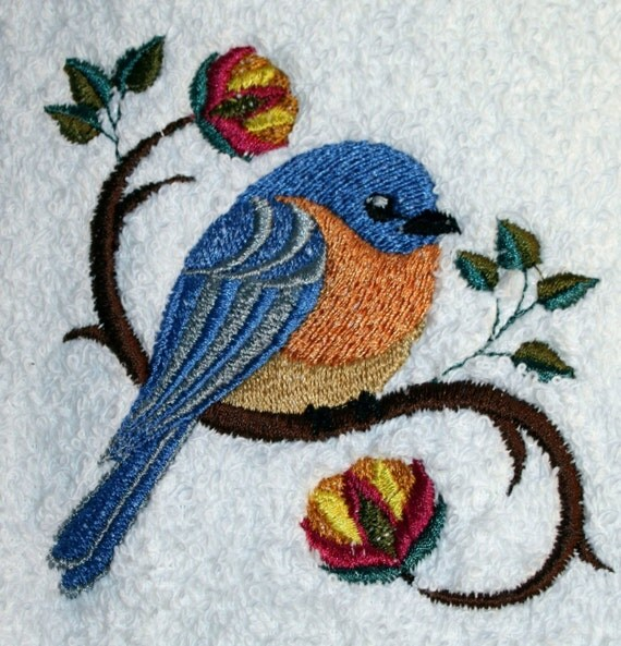 Bluebird Towel Embroidered Towel Bird Towel Flour Sack