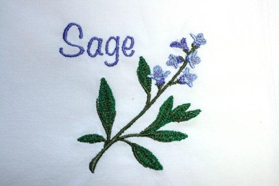 Sage Herb Embroidered Flour Sack Towel / Hand Towel / Bath Towel / Apron