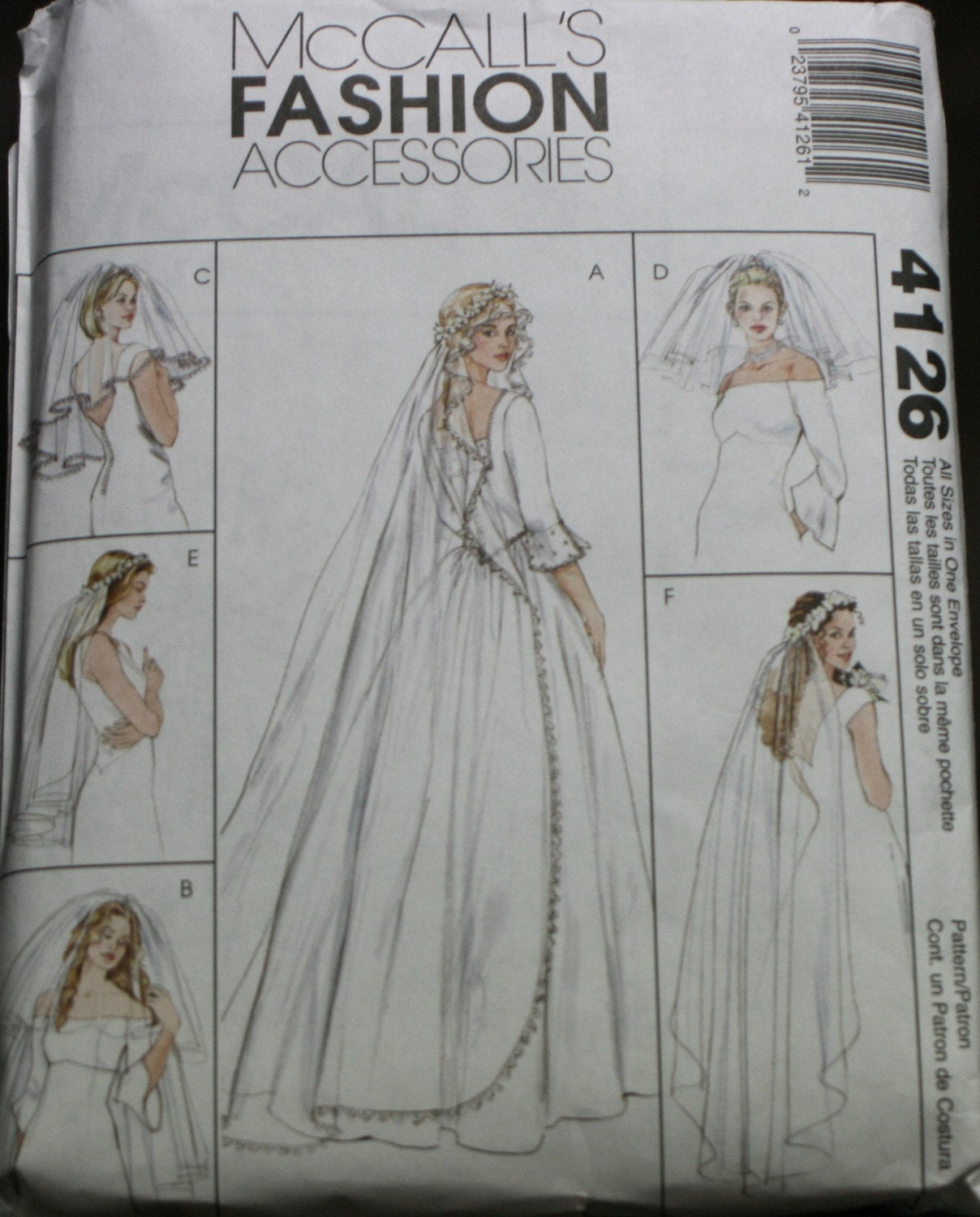 Wedding Veils And Headpieces Patterns: 4126 McCall's Bridal Wedding Veil Sewing Pattern New/Uncut