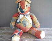 vintage large patchwork quilted teddy bear