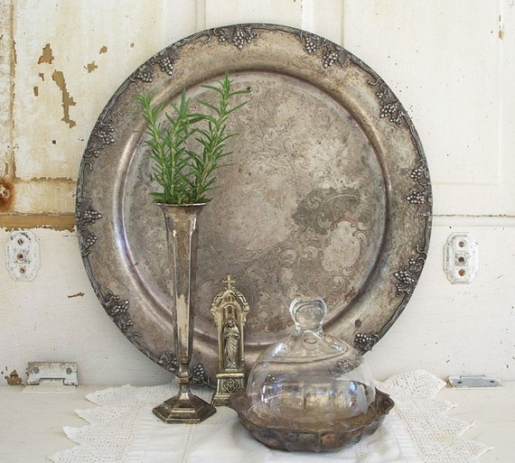 RESERVED FOR SusanSM Vintage Large Grape Vine Design Silver Plate Round Tray Heavy Patina Silverplate