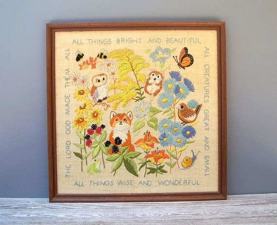 Vintage crewel embroidery forest animals birds flowers